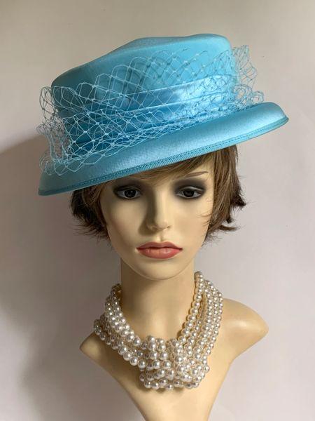 Simon Ellis London Turquoise Small Brim Formal Hat Pleated Ribbon & Net Detail