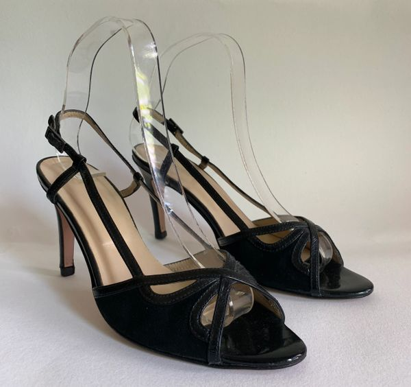 """Hobbs Black Suede And Leather Open Toe Slingback 3.5"""" Stiletto Shoes Sandals With Cross over fronts.Size UK 4.5 EU 37.5"""