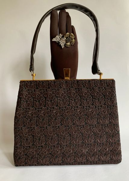 Vintage 1950s Brown Faux Leather & Swiss Lace Handbag Brown Rayon Lining.
