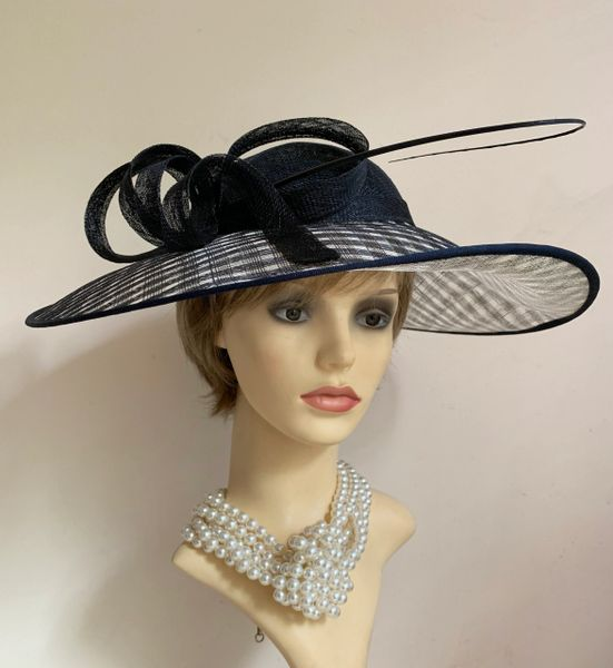 Black And Natural Sinamay Large Fascinator Hat With Headband And Bow .