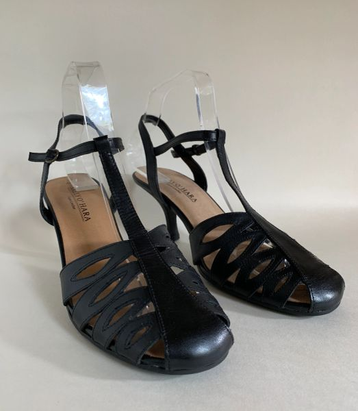 Sally O'Hara Black Mary Jane T Bar Sling Back Faux Leather Sandals Shoes