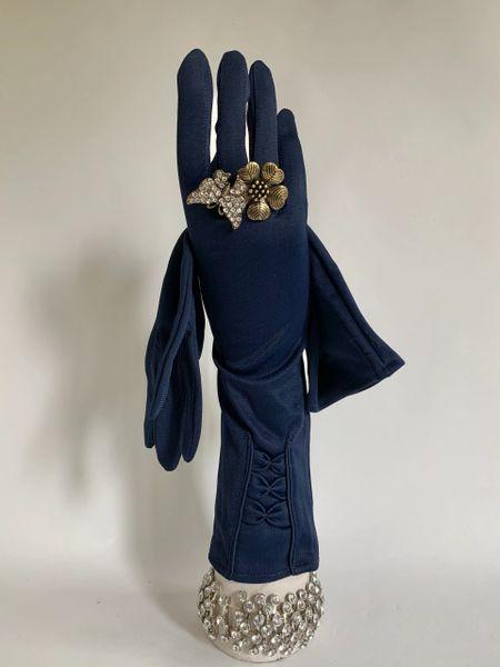Prova Vintage 1960s Bow Pattern Back Blue Nylon 13 Inch Formal Dress Gloves Size 7.5