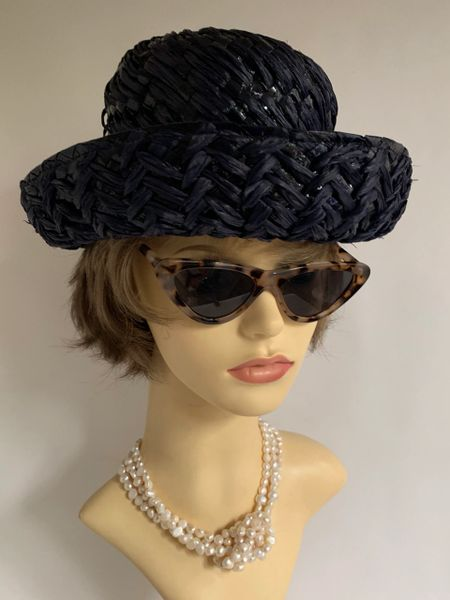 Connor Vintage 1950s Very Dark Blue Interwoven Polyester Straw Hat With Removable Ribbon