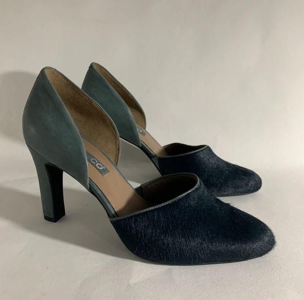 "ECCO Green Leather & Pony Hair Full Dorsay 3.5"" Slim Heel Court Shoe Size UK 6 EU 39"