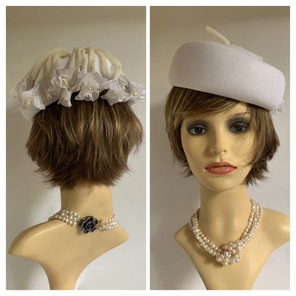 Kangol Vintage 1960s White Pillbox Hat With Ivory Bows & White Flower Detailing