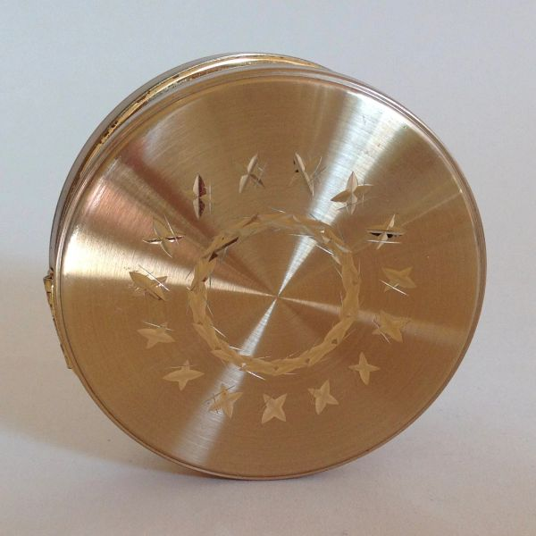 Vintage 1970s Gold Toned Star Circle Patterned Convertible Powder Compact Sifter & Replacement Puff