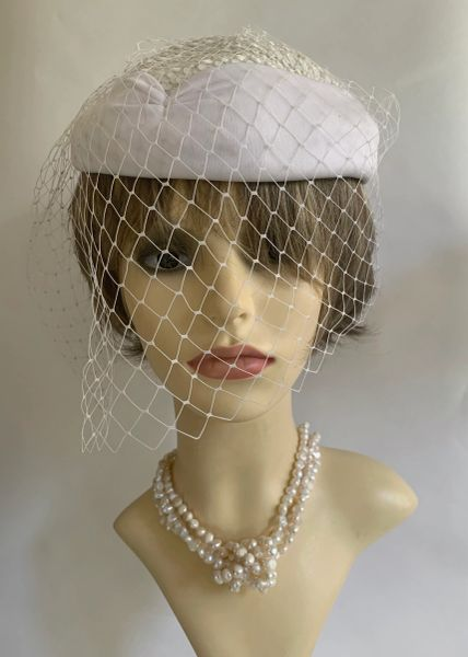 Vintage 1960s White Nylon Pillbox Hat Net Face Veil Rear Bow Sequinned Top Lined