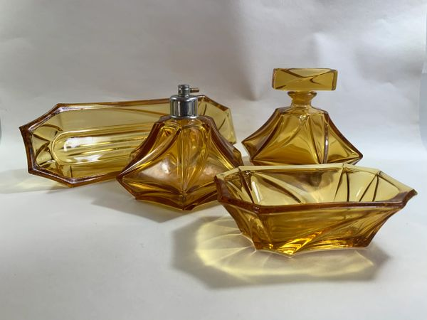 Vintage 1950s Four Piece Amber Glass Dressing Table Set.