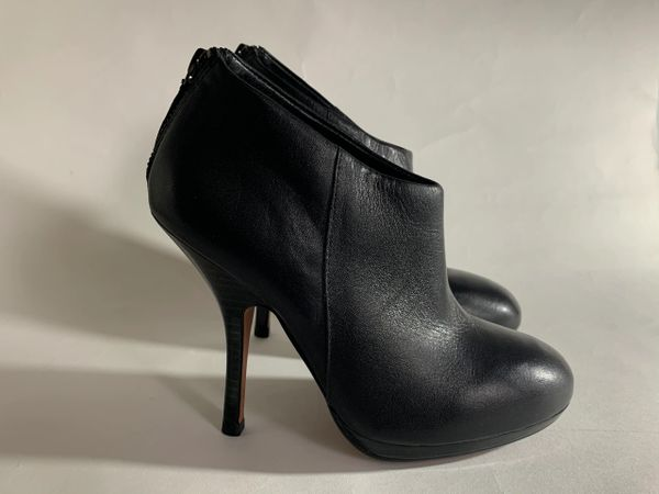"KG Kurt Geiger Black Leather Round Toe 4"" Stiletto Heel Boot Bootie SizeUK 3 EU 36"