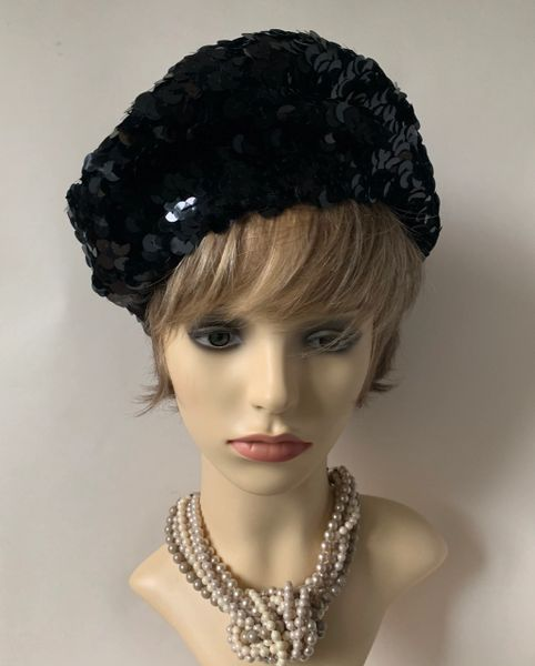Black 1960s Inspired French Style Sequin Stretch Fabric Beret Unlined