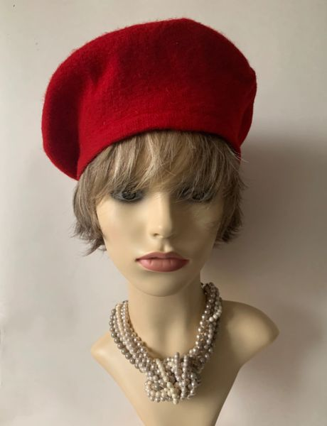 Bright Red 960s Inspired French Style Wool Fine Knitted Beret Unlined