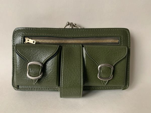 Vintage 1960s Olive Green Faux Leather Housewife Large Purse Wallet Wristlet With Gold Toned Frame buckles and kiss clasp