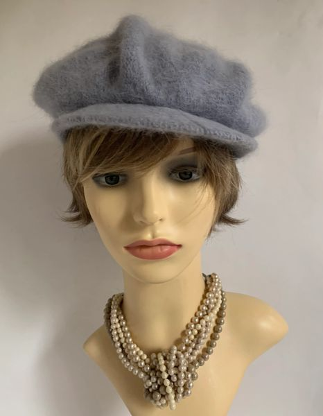 Vintage 1960s Inspired Soft Grey French Style Wool Baker Boy News Boy Peaked Cap