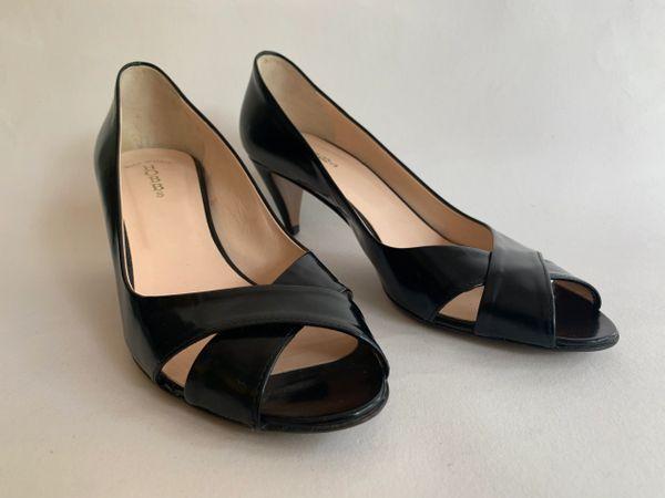 "Hobbs Black Leather Cross Front Peep Toe 2.5"" Cone Heel Court Shoe Size UK 4 EU 37"