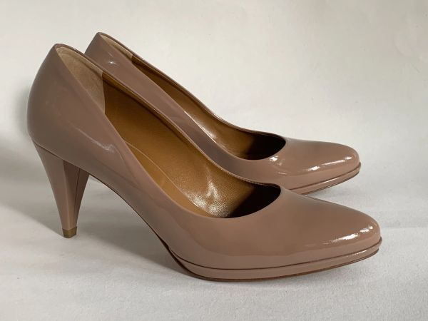 "Hobbs Nude Patent Leather 3"" Slim Cone Heel Platform Court Shoe Size UK 4.5 EU 37.5"