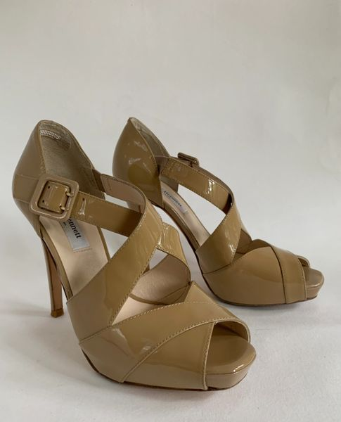 "LK Bennett Beige Patent Leather Cross Over Hidden Platform 4.5"" Stiletto Shoe Size UK 4.5 EU 37.5"