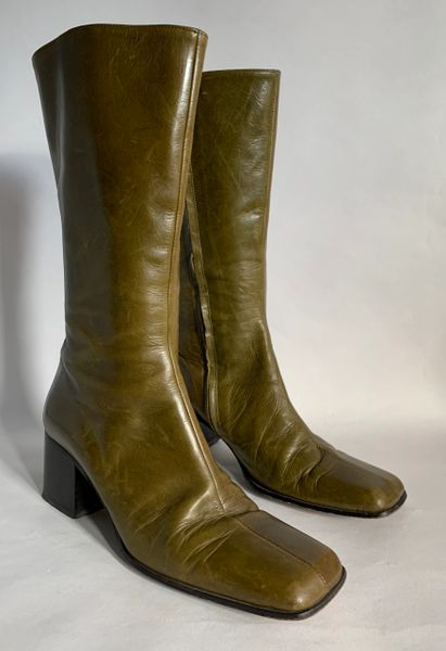 "Enrico Antinori Olive All Leather Boots Square Toe 2.5"" Block Heel Size UK 3 EU 35.5"