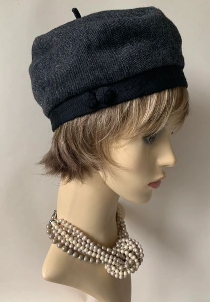 Hoss Grey Tweed 1960s Inspired French Style Wool Viscose Mix Beret Fully Lined