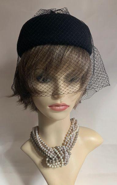 Bermona Trend Black Felt Vintage 1950s Pillbox Hat With Face Veil Net Detail