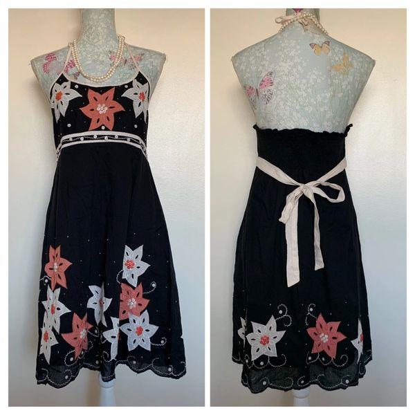 Mela Loves London Black Orange & White Flower Appliqué Halterneck A-line Dress Size 14