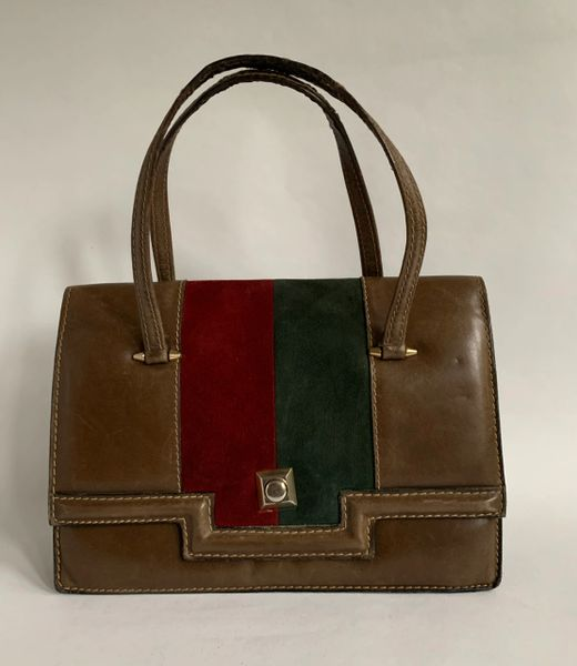 Vintage 1960s Handbag Beaver Brown Leather With Red & Green Suede Inset Leather Lined.