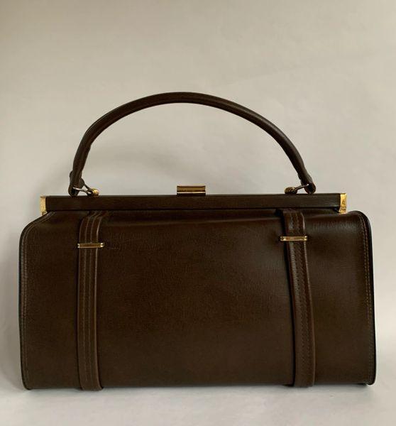 Brown Leather Vintage 1980s Handbag Weekend Cosmetic Vanity Case Cream Lining
