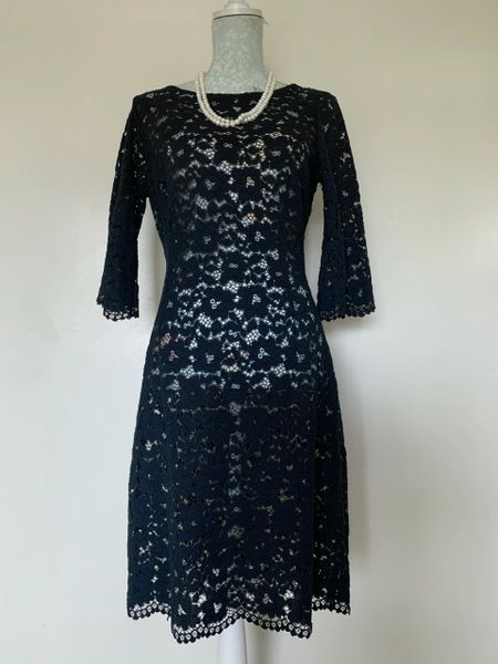 Zara Basic Black Stretch Lace Just Below Knee Long Sleeve Over Dress See Through Size Marked L. -12-14