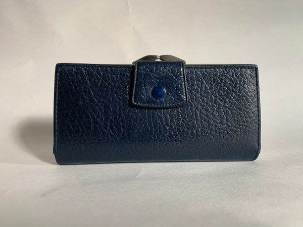 Vintage 1950s Blue Textured Faux Leather Coin Purse Wallet Faux Leather Lining