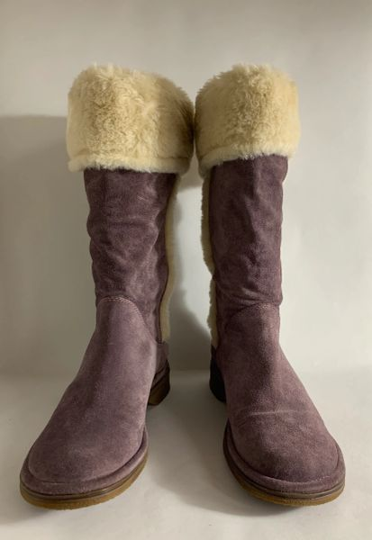 Clarks Pull On Boots Dusky Lilac Suede Faux Fur Top & Trim Calf Length UK 5.5 EU 38.5