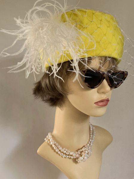 Yellow & White Vintage 1980s Rayon High Side Pillbox Hat Face Veil Ostrich Plume Detail Fully Lined Size 21 inches