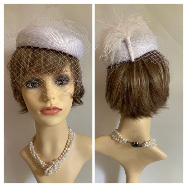 Vintage 1960s White Pillbox Hat Net Face Veil & White Ostrich Feather Plume Detail To Rear