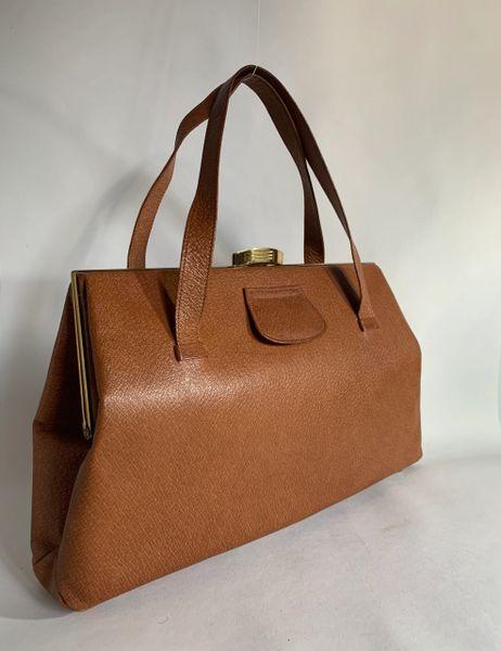 Moreware Vintage 1940s Tan Pig Skin Leather Handbag With Apricot Satin Lining