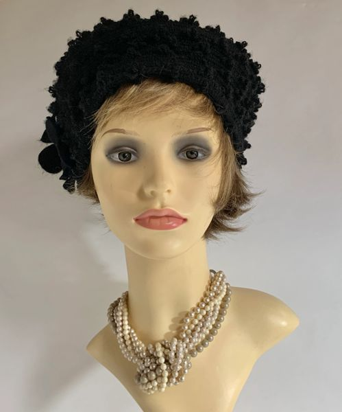 Bedacht By Simon Schultz Black 1960s Inspired Soft Bobble Knit Beret Unlined