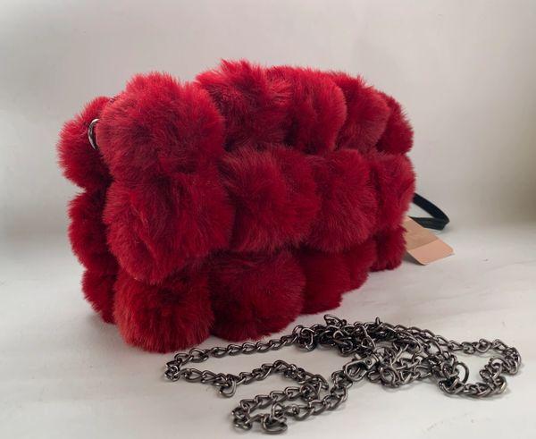 Saison Nandi Claret Faux Fur Pom Pom Wristlet Shoulder Bag With Tag And Removable Shoulder Chain.