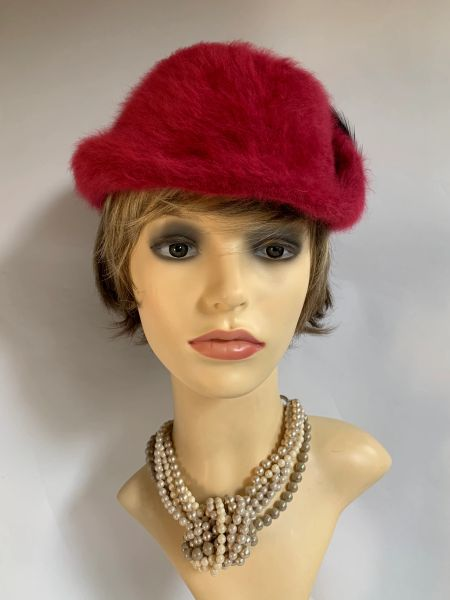 KANGOL Vintage 1960s Deep Rose Bycocket Angora Hat With Back Feather Detailing