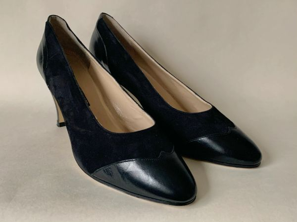 Toztozelli Black 1980s Leather & Suede Mid Heel Court Shoe Size UK 7 EU 40