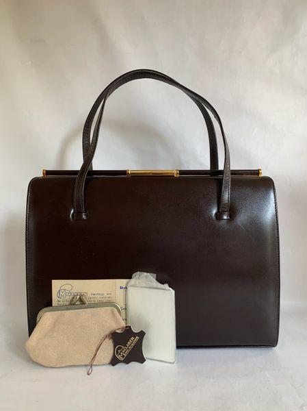 MacLaren 1960s Vintage Large Brown Leather Handbag Suede Lining Purse Mirror Original Care Card