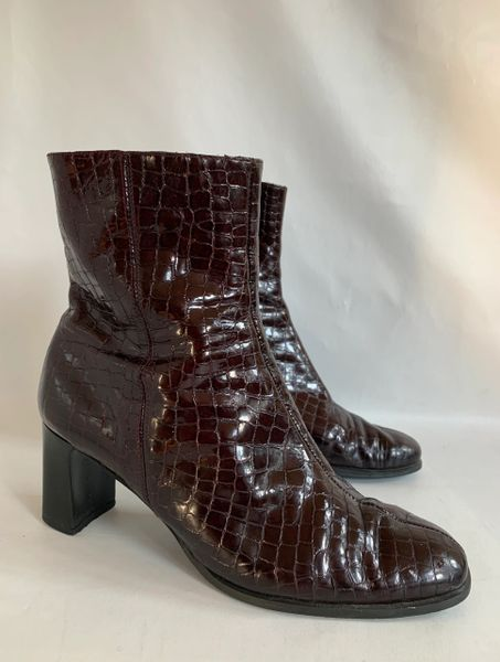 Roland Cartier Well Loved Dark Brown Moc Croc Leather 3 Inch Block Heel Ankle Boots Size UK 5 EU 38