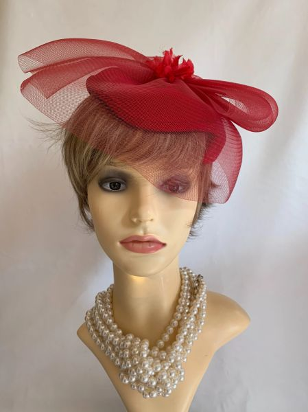 KANGOL Red Vintage 1960s Cotton Velvet Pillbox Capulet Hat With Net Topping