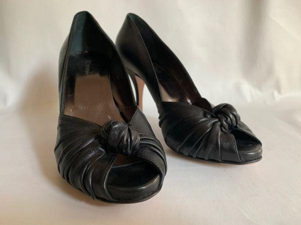 Hobbs Black Leather Knotted Peep Toe 4 Inch Stiletto Heel Court Shoe Size UK 6.5 EU 39.5