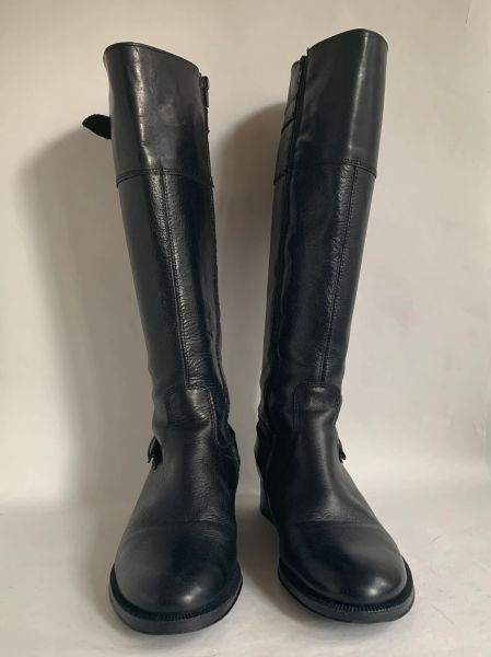 ALDO Black Leather Knee Length Low Heel Boots Side Zip Adjustable Top Size UK 5 EU 37.5 Generous sizing