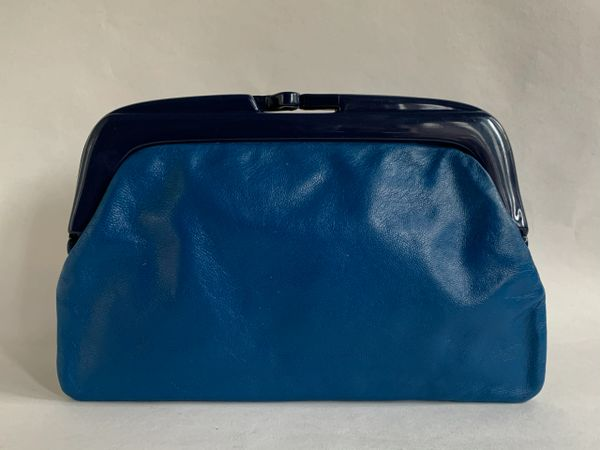 Vintage 1960s French Blue Leather Clutch Bag With Dark Blue Celluloid Frame And Buff Lining