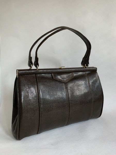 Faux Lizard Vintage 1950s Medium Size Dark Brown Handbag Brown Fabric Lining
