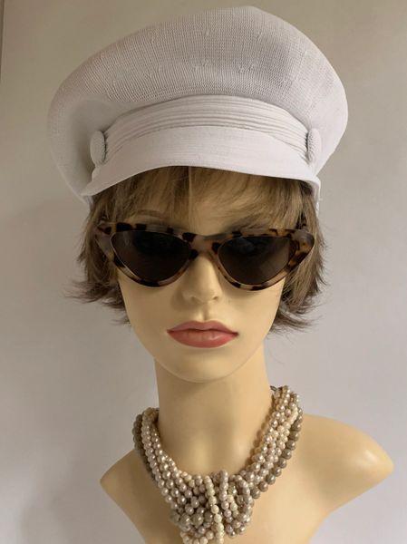 Kangol Vintage 1960s White Stretch Baker Boy News Boy Peak Cap One size