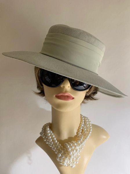 Jacque Vert Formal Hat In Pale Green Substantial Fabric Satin Ribbon & Rossette
