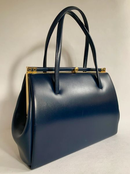 Vintage 1960s Blue Faux Leather Classic Handbag With Buff Suede Lining And Elbief Lining