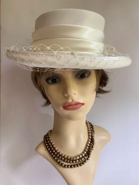 Hat Box Satin Ivory Hat Large Spotted Net Bow Satin Ribbon Bridal Wedding Lined