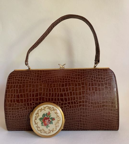 Wicklorbag Brown Leather Moc Croc 1950s Vintage Handbag Fabric Lining Along With Powder Compact