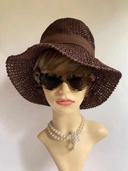A Dark Brown Vintage Viscose Floppy Summer Casual Sun Hat With Petersham Ribbon Detail