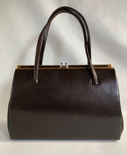 Salisbury Vintage 1950s Handbag Dark Brown Leather Buff Suede Lining & Elbief Frame